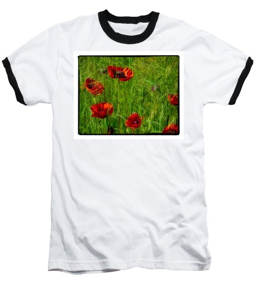 Poppies Baseball T-Shirt by Hugh Smith