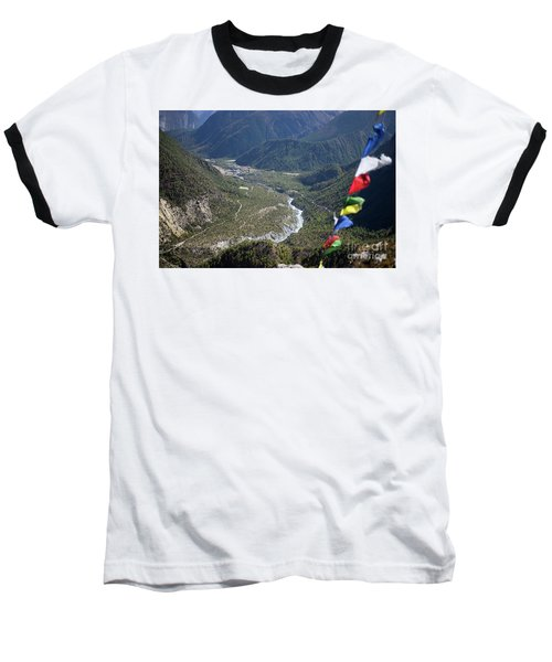 Prayer Flags In The Himalaya Mountains, Annapurna Region, Nepal Baseball T-Shirt