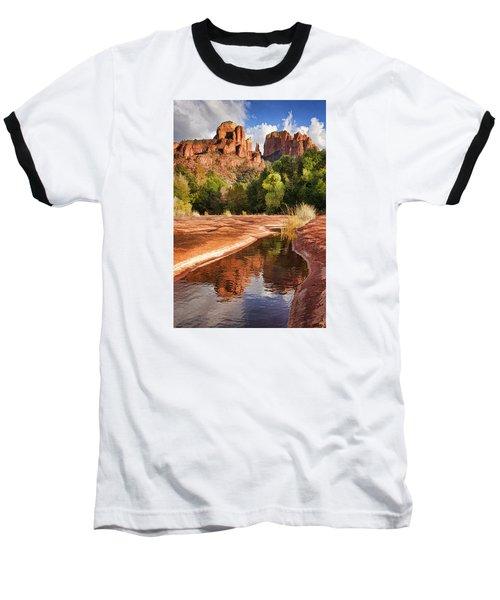 Reflections Of Cathedral Rock Baseball T-Shirt