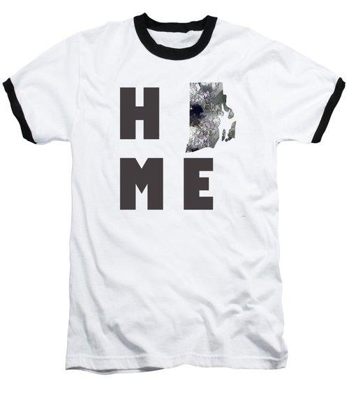 Baseball T-Shirt featuring the digital art Rhode Island State Map by Marlene Watson