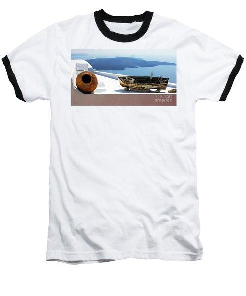 Santorini Greece Baseball T-Shirt by Bob Christopher
