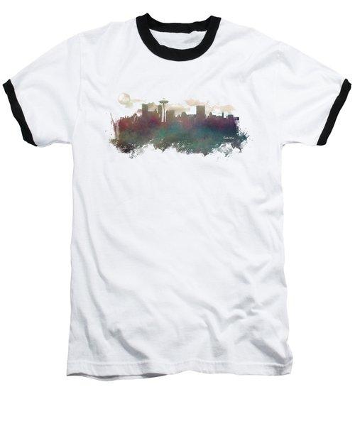 Seattle Washington Skyline Baseball T-Shirt by Justyna JBJart