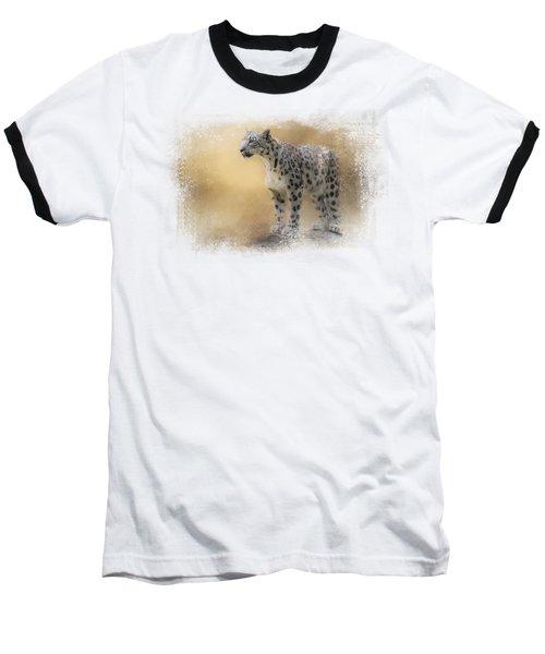 Snow Leopard Baseball T-Shirt by Jai Johnson