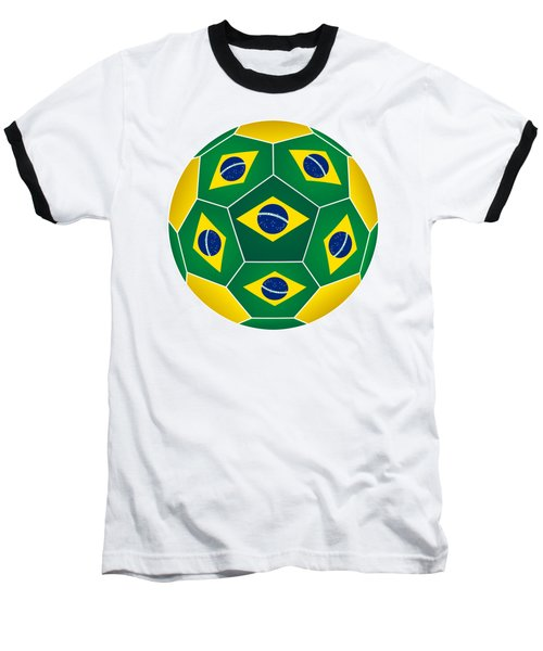 Soccer Ball With Brazilian Flag Baseball T-Shirt