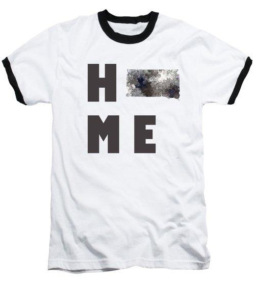 Baseball T-Shirt featuring the digital art South Dakota State Map by Marlene Watson