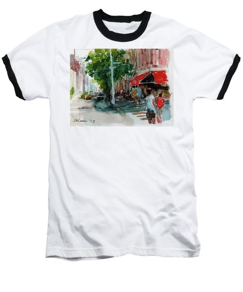 Streetscape With Red Awning - 82nd Street Market Baseball T-Shirt