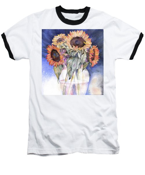 Baseball T-Shirt featuring the painting Sunflowers by Nadine Dennis