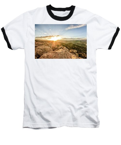 Baseball T-Shirt featuring the photograph Sunset Over The Mountains Of Flaggstaff Road In Boulder, Colorad by Peter Ciro