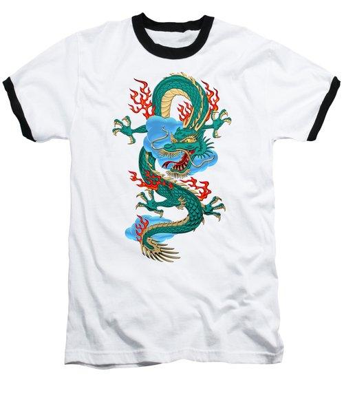The Great Dragon Spirits - Turquoise Dragon On Rice Paper Baseball T-Shirt by Serge Averbukh