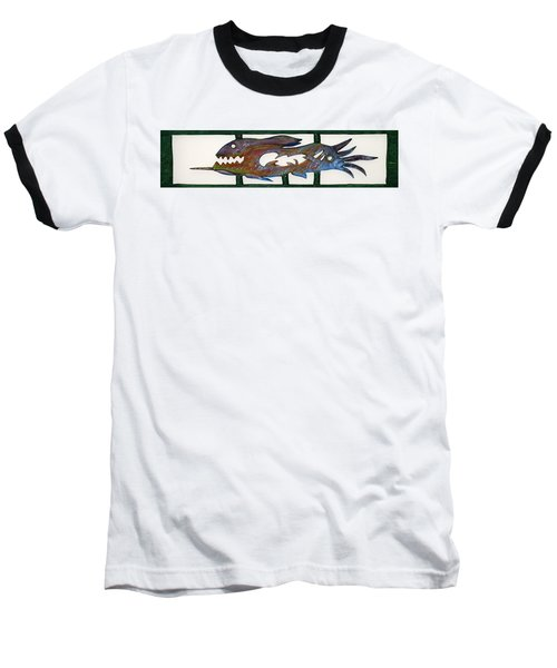 Baseball T-Shirt featuring the mixed media The Prozak Fish by Robert Margetts