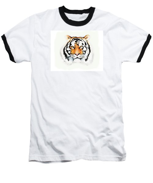 Baseball T-Shirt featuring the drawing Tiger by Brian Gibbs