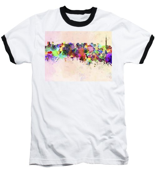 Tokyo Skyline In Watercolor Background Baseball T-Shirt