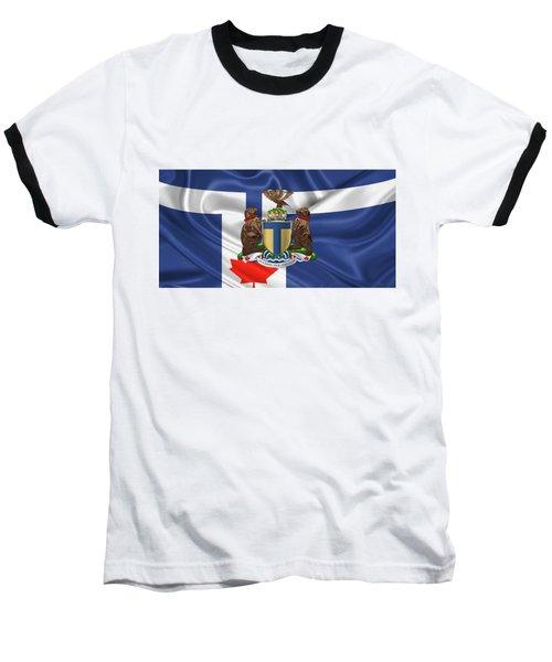 Toronto - Coat Of Arms Over City Of Toronto Flag  Baseball T-Shirt