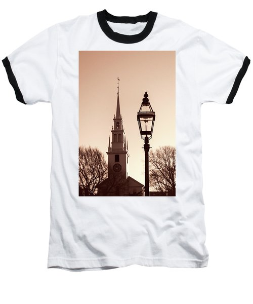 Baseball T-Shirt featuring the photograph Trinity Church Newport With Lamp by Nancy De Flon