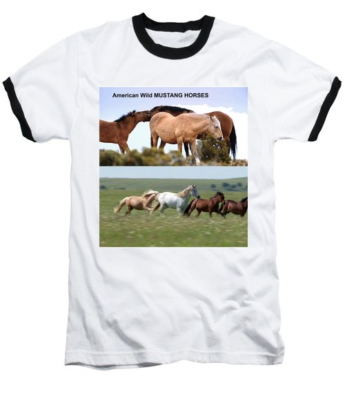 Twin Photos Awesome North American Mustangs Horses Cowboys Photography See On Posters Pillows Curtai Baseball T-Shirt by Navin Joshi
