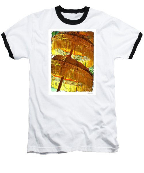 Baseball T-Shirt featuring the photograph Umbrellas Yellow by Linda Olsen