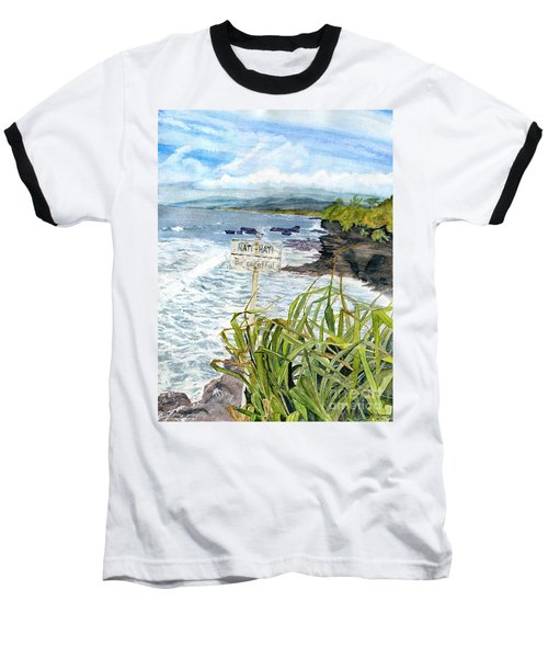 Baseball T-Shirt featuring the painting View From Tanah Lot Bali Indonesia by Melly Terpening