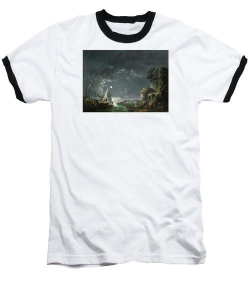 Baseball T-Shirt featuring the painting View Of A Moonlit Mediterranean Harbor by Carlo Bonavia