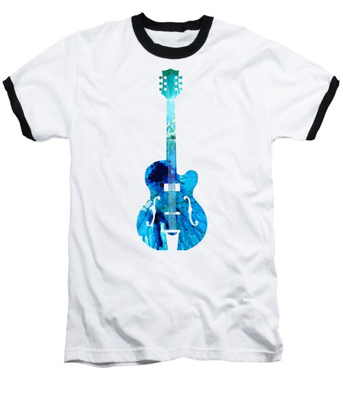 Vintage Guitar 2 - Colorful Abstract Musical Instrument Baseball T-Shirt by Sharon Cummings