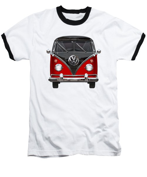 Volkswagen Type 2 - Red And Black Volkswagen T 1 Samba Bus On White  Baseball T-Shirt by Serge Averbukh