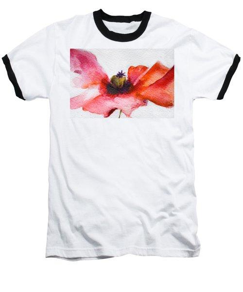 Watercolor Poppy Flower Baseball T-Shirt