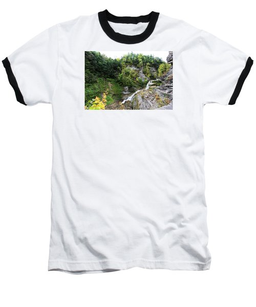 Baseball T-Shirt featuring the photograph Waterfall At Robert Treman State Park II by Trina  Ansel