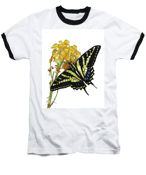 Western Tiger Swallowtail On A Western Wallflower Baseball T-Shirt