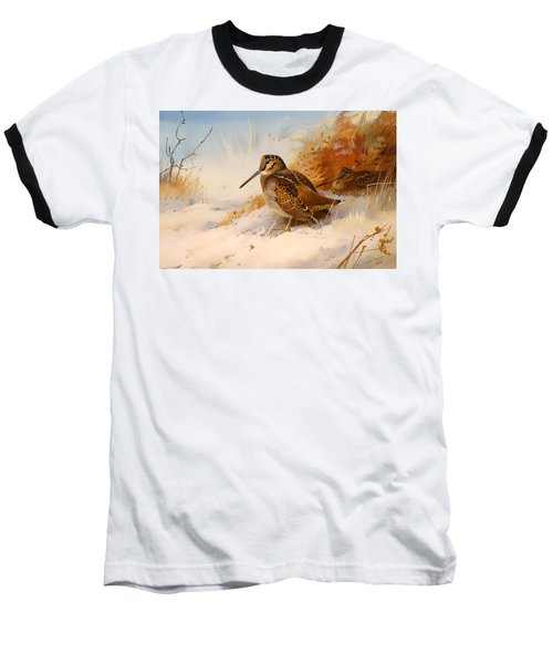 Winter Woodcock Baseball T-Shirt by Mountain Dreams