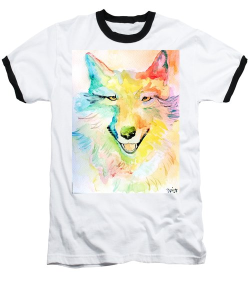 Baseball T-Shirt featuring the painting Wolfie by Denise Tomasura