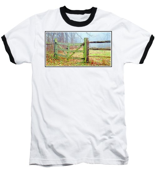 Wooden Fence On A Foggy Morning Baseball T-Shirt by A Gurmankin