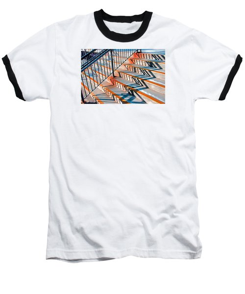 Zig Zag Shadows On Train Station Steps Baseball T-Shirt by Gary Slawsky