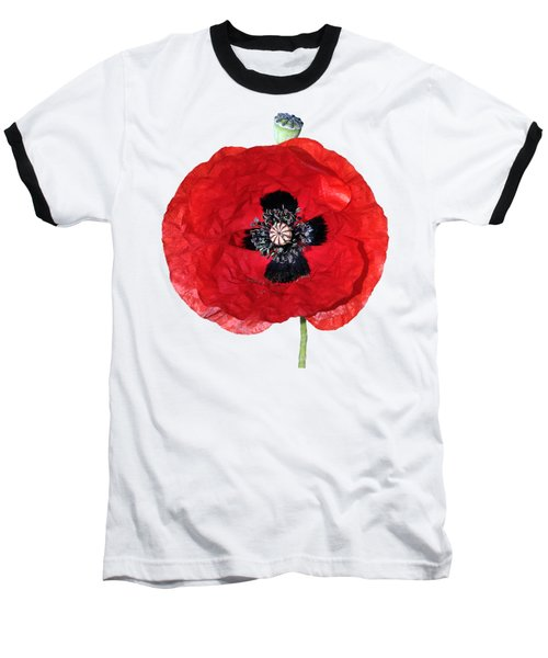 Poppy Flower Baseball T-Shirt