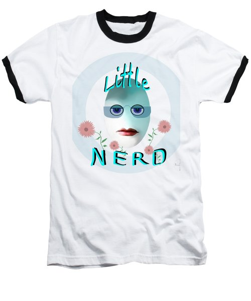 Baseball T-Shirt featuring the painting 1283 - Little Nerd Tshirt Design by Irmgard Schoendorf Welch