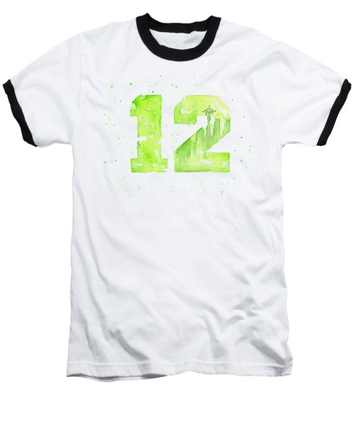 12th Man Seahawks Art Go Hawks Baseball T-Shirt by Olga Shvartsur