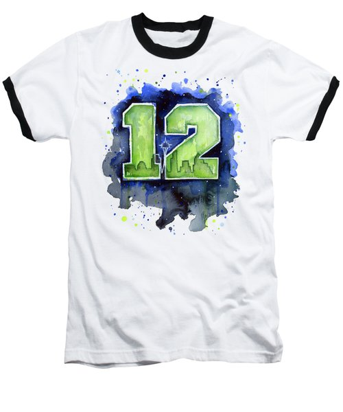 12th Man Seahawks Art Seattle Go Hawks Baseball T-Shirt by Olga Shvartsur