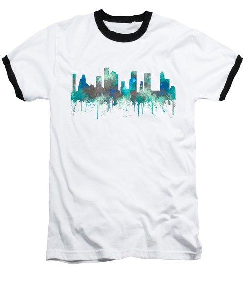 Baseball T-Shirt featuring the digital art Houston Texas Skyline by Marlene Watson