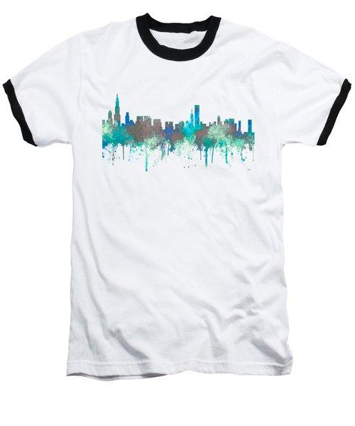 Baseball T-Shirt featuring the digital art Chicago Illinois Skyline by Marlene Watson