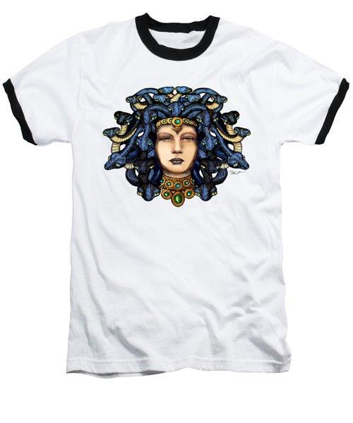 16x20 Medusa 2 Blu Gold Baseball T-Shirt by Dia T