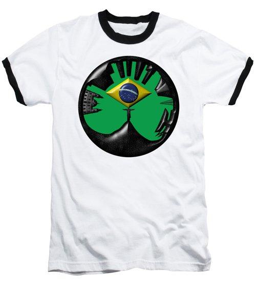 Rio De Janeiro Skyline Baseball T-Shirt by Michal Boubin