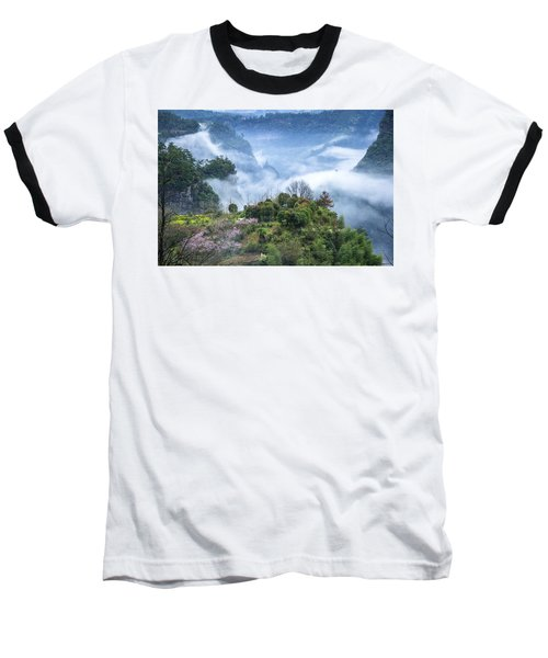 Mountains Scenery In The Mist Baseball T-Shirt