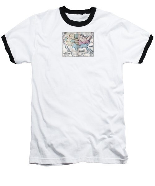 Baseball T-Shirt featuring the digital art 1861 Us Military Map by Maciek Froncisz