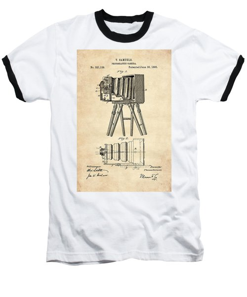 1885 Camera Us Patent Invention Drawing - Vintage Tan Baseball T-Shirt