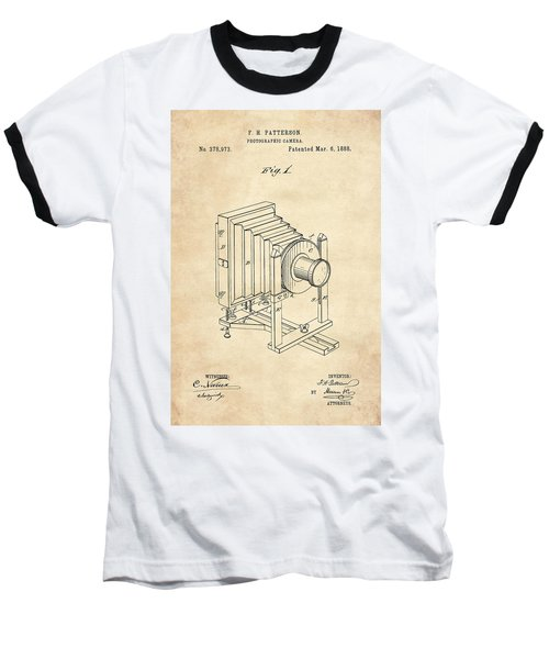 1888 Camera Us Patent Invention Drawing - Vintage Tan Baseball T-Shirt