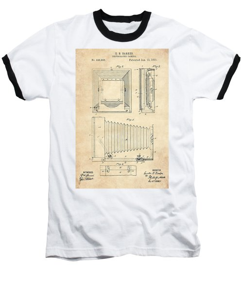 1891 Camera Us Patent Invention Drawing - Vintage Tan Baseball T-Shirt
