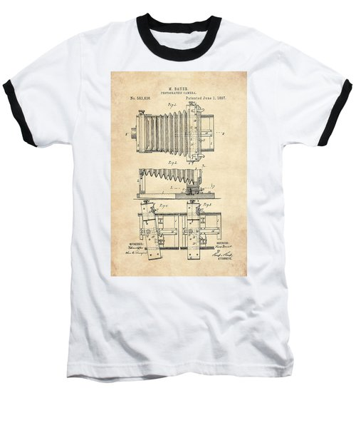 1897 Camera Us Patent Invention Drawing - Vintage Tan Baseball T-Shirt