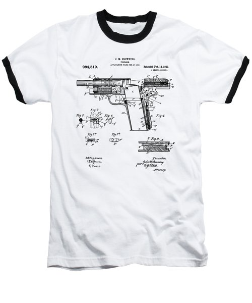 Baseball T-Shirt featuring the drawing 1911 Colt 45 Browning Firearm Patent 2 Artwork Vintage by Nikki Marie Smith
