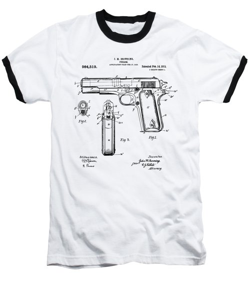Baseball T-Shirt featuring the drawing 1911 Colt 45 Browning Firearm Patent Artwork Vintage by Nikki Marie Smith