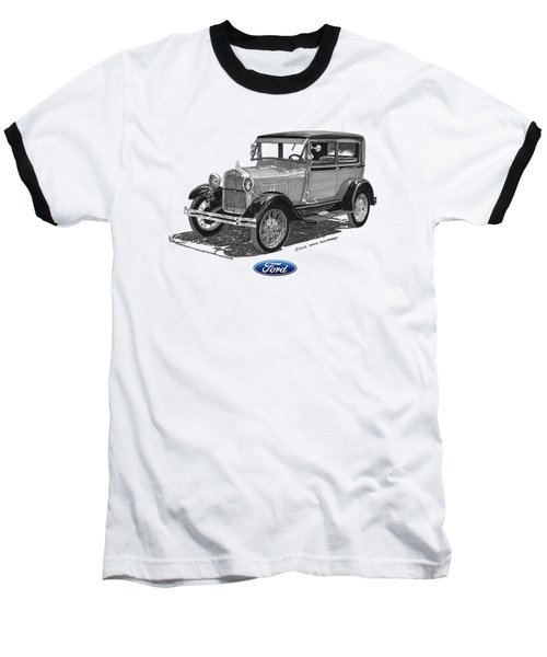 Model A Ford 2 Door Sedan Baseball T-Shirt by Jack Pumphrey