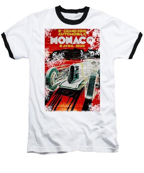 1930 Monaco Grand Prix Poster Baseball T-Shirt