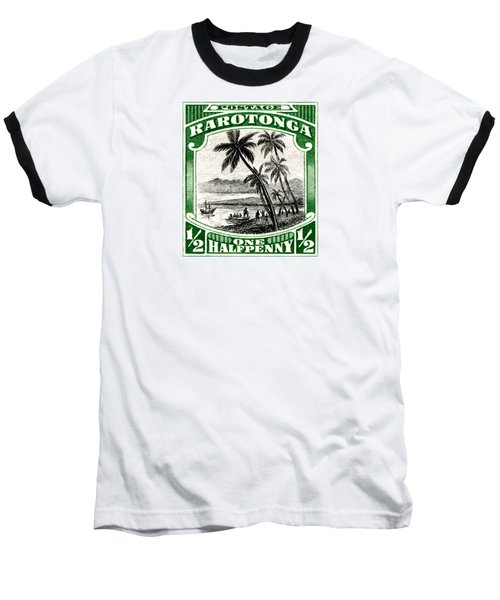 Baseball T-Shirt featuring the painting 1932 Landing Of Captain Cook Stamp by Historic Image